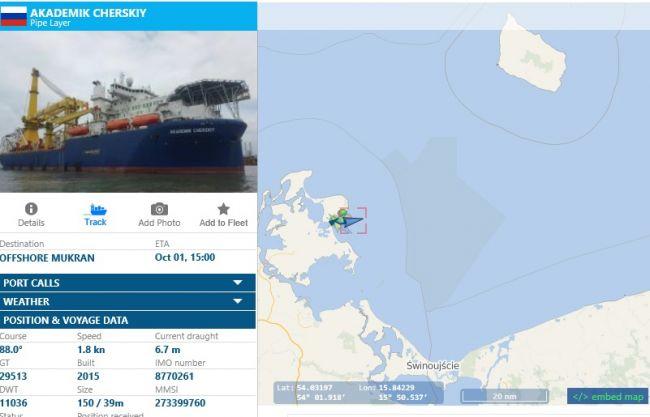 «Северный поток-2»: «Черский» вморе, еще один «снабженец» идет вМукран