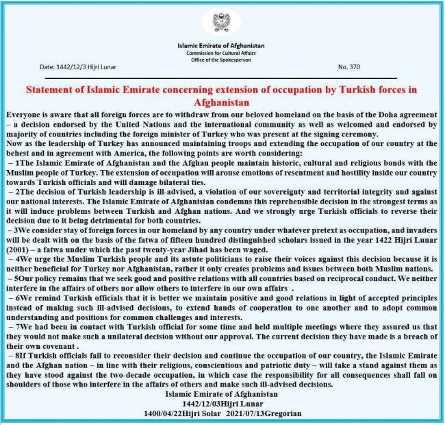 d5989f4503cada64f97cdbb641c0e Талибы официально предупредили Турцию: Вас недолжно быть вАфганистане
